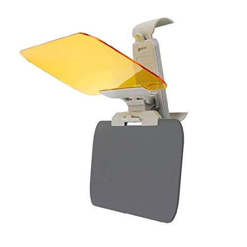2 en 1 visera de coche HD anti luz solar deslumbrante gafas día visión nocturna espejo de conducción UV plegable para visera transparente (amarillo)