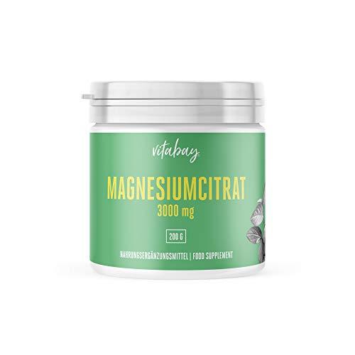 Vitabay Magnesiumcitrat 3000 mg • 200 g Pulver • Vegan • 66 Portionen • Made in Germany