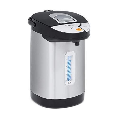 Klarstein Hot Spring Heißwasserspender, Edelstahl-Wassertank: 2,8 Liter, Touch-Bedienfeld, Warmhalte-Temperatur: 75-90 °C, Trockengeh- & Überhitzungsschutz, silber