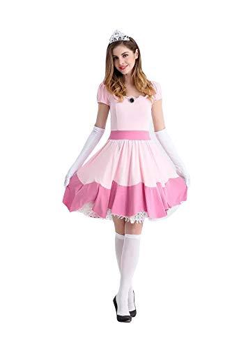 thematys® Super Mario Princesa Peach Vestir - Conjunto de Disfraces para Mujer Carnaval y Cosplay (X-Large) 170cm - 175cm