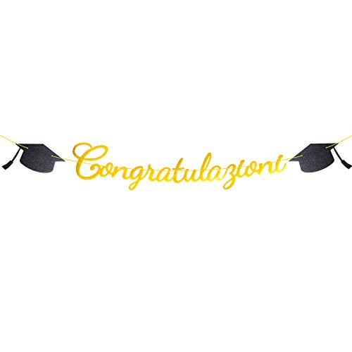 DEOMOR Laurea Striscione Congratulazioni Carta Ghirlanda Bandiera Addobbi Banner Festoni Decorazioni Festa di Laurea Bomboniere Party Casa (Oro)