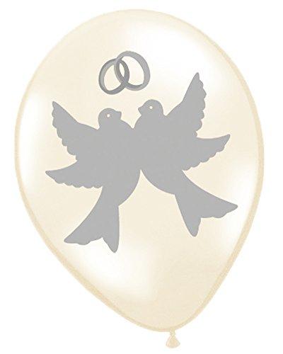 12 Luftballon Tauben mit Ehering Creme ca. 30 cm - Schöne romantische Ballon Dekoration für Hochzeit, Polterabend oder Junggesellinnenabschied