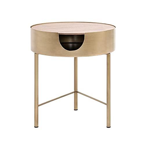 XIAOLIN Drewniany Stolik Do Kawy Mały Stół Boczny Biały Okrągły Stół Końcowy Z Pudełkiem Do Salonu Sypialni Samotnie/łączone Używane(Size:41x46cm)