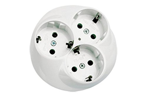 Schutzkontakt-Steckdose 3-fach unterputz weiß Schuko-Steckdosen