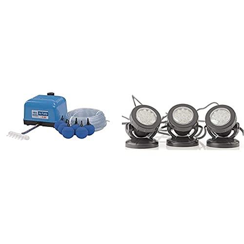 Aquaforte Hi-Flow V-20 Luftpumpenset, 25 m Luftschlauch (Ø 4 x 6 mm), 4x Ø 5 cm Luftsteinen & Pontec Unterwasserbeleuchtung PondoStar LED 3-er set | LED-Spotset | Beleuchtung
