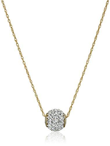 10k Gold Swarovski Elements Slide Ball Pendant Necklace