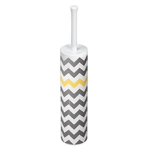 iDesign Una WC Bürstengarnitur, schmale Toilettenbürste und Halter aus Kunststoff, weiß, grau und gelb