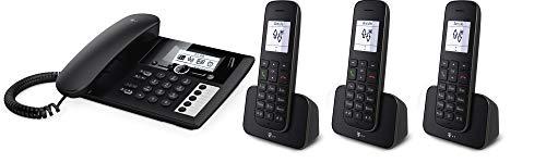 Telekom Sinus PA207 Plus 3, analoges Telefon-Set inkl. 3 Mobilteilen und Anrufbeantworter