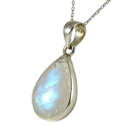 Sterling Silver 925 Natural Moonstone June Birthstone Drop Pendant Necklace 16+2 inches Chain - Adularescence Effect