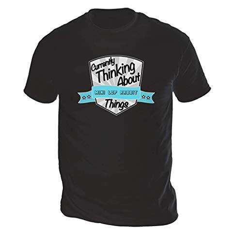 Aktuell Thinking About Mini Lop Hase Herren T-Shirt (Pick Farbe und Größe) - Schwarz, S