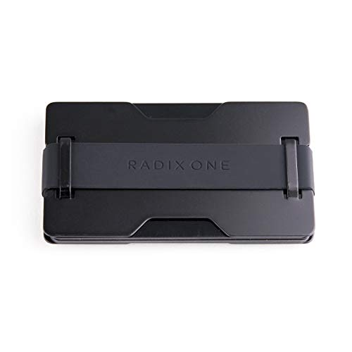 Radix One Black Steel - RFID Blocking Minimalist Front Pocket Ultra Thin Strong Wallet Money Clip Card Holder