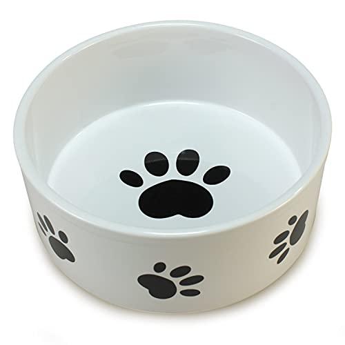 Arquivet Futternapf aus Keramik für Hunde oder Katzen, Pfotenstil, Futterschale für Haustiere, Futterschale aus Keramik, für Hunde und Katzen, 19 cm