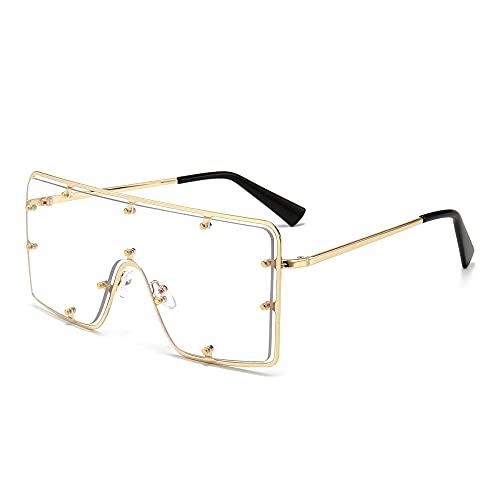 XDOUBAO Gafas de sol Gran marco Rivet Tendencia Personalidad Gafas de sol Hombres y mujeres Tide Gafas de sol-Color foto_Marco de oro hoja transparente