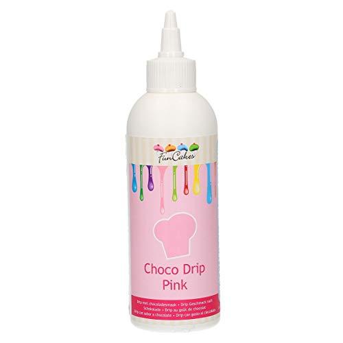 FunCakes Choco Drip Pink- Goteo Perfecto para Pasteles, Sabor Delicioso, Listo Para Usar, Botella Exprimible Práctica Recalentable, Certificado Halal, 180 g