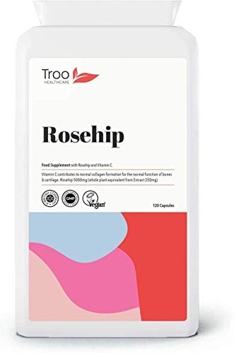 Rosehip Supplements (5000mg) with Vitamin C to Support Bones and Cartilage - 120 Capsules - High Strength Rosacanina - UK Manufactured to GMP Standards
