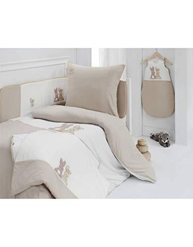 Housse de Couette140x200cm avec taie d'oreiller POMPON LE LAPIN - Sensei La Maison du Coton