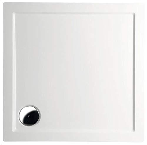 Mineralguss Duschwanne 90x90 - begehbare Dusche 900x900x40 mm, Weiß