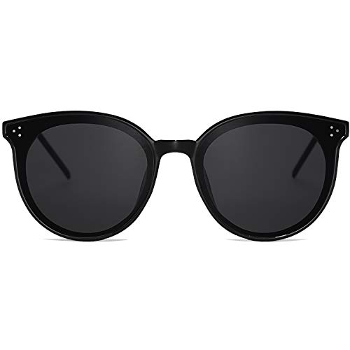 SOJOS Classic Retro Round Oversized Sunglasses for Women with Rivets DOLPHIN SJ2068 with Black Frame/Grey Lens