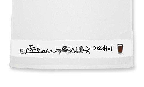 die stadtmeister Geschirrtuch Skyline Düsseldorf - als Geschenk für Düsseldorfer & Fans der Metropole am Rhein oder als Düsseldorf Souvenir