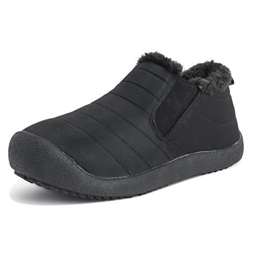 Adultos Unisex Medio Durable Piel Sintética Invierno Calentar Al Aire Libre Zapatillas Zapatos - W6/M7 - BLK39 AEA0552