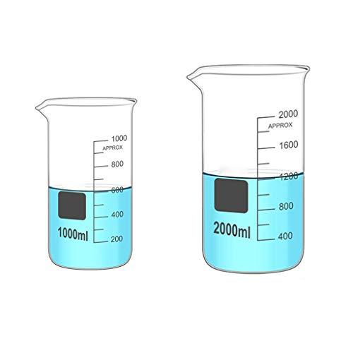 LBWT 1000ml / 2000ML Lab verdickte Hohe Glasbecher, Küchenmesswerkzeuge, chemisches Experiment Ausrüstung, hohe Temperaturbeständigkeit, Home/Schule/Shop