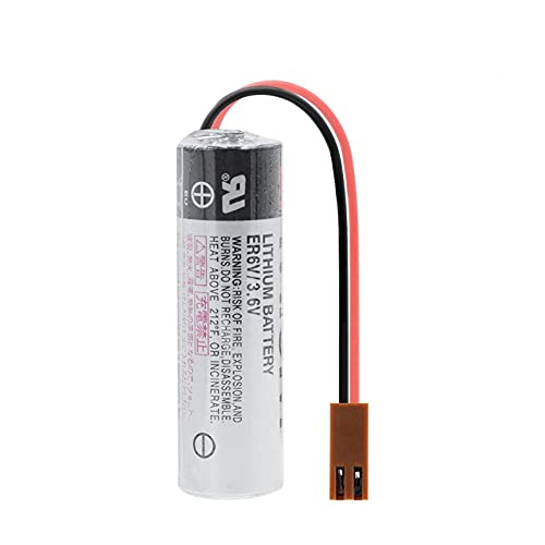 TTCPUYSA Batería De Iones De Litio De 3.6v 2000mah ER6V, Celda De Repuesto con Conectores De Enchufes para Medidor De Agua De AmperíMetro 1pcs