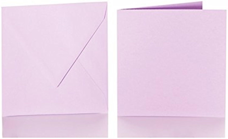 100 quadratische Briefumschläge 125 x 125 mm. 12,5x12,5 cm, 120 g m² mit Dreieckslasche  100 passende Faltkarten 120 x 120 mm, 240g, Farbe  i30 Intensivflieder B015PJ8E9E | Attraktive Mode