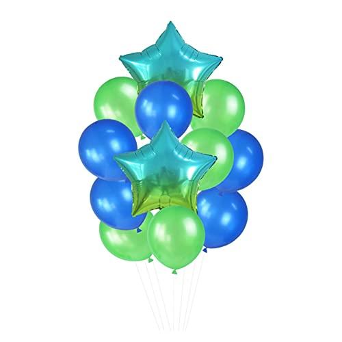 Globo 12 unids/Set 18in '' Gradient Star Foil Ballon 12in '' Latex Ballons Penta Helium Globos Fiesta Boda Decoraciones de cumpleaños Globos de cumpleaños (Color : T09)