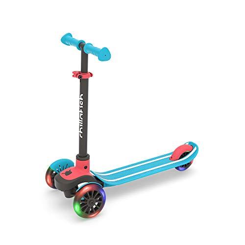 Chillafish Scotti Glow, Scooter Roller Fuer Kinder - Kinder Roller mit Leuchträdern, Leicht lenkender Tretroller mit Antirutschdeck und Bremse ,einstellbare Höhe, ab 3 Jahren, Blau