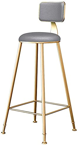 Chilequano Moderna sala de estar con mostrador de altas taburetes para la silla de comedor de Barstool, con asiento de cuero de esponja tapizado y espalda, patas de metal de oro y reposapiés, altura d