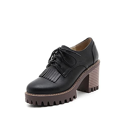 LcHuiBo Zapatos de tacón Alto con Cordones para Mujer Oxfords con Punta de ala Perforada Zapatos Oxford de Moda de tacón Alto Grueso Brogues Zapatos Casuales Antideslizantes (35 EU,Black)