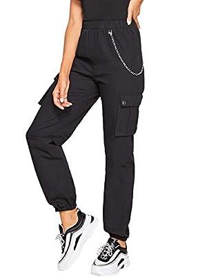 Romwe Women's Workout Jogger Pants High Waist Lightweight Hiking Outdoor Sweatpants (Small, Black #2)