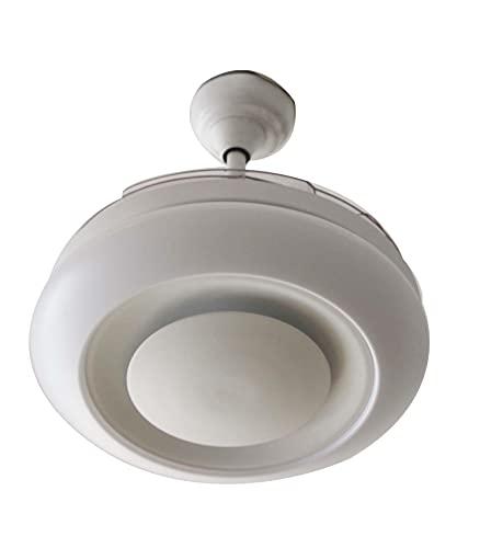 starLED Ventilador de techo con luz LED y mando a distancia, motor silencioso para habitación, ventilador de 4 aspas ABS plegables, ventilador con mando a distancia y temporizador (ventilador bola)