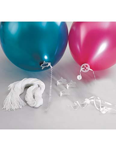 Lot de 100 rubans avec fermeture automatique pour ballons de baudruche gonflés à l'hélium Riethmuller