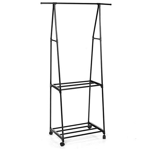Perchero para ropa 3 en 1 de metal, organizador de armario, estante portátil, para almacenamiento de ropa para dormitorio, lavandería (tamaño: 88 x 40 x 159 cm), color: negro
