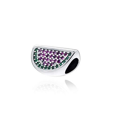 Charm de joyería de plata de ley 925 de Pandora, pulseras de ajuste único, cuentas brillantes, encantos de sandía, joyería para mujer