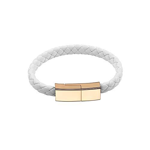Outstanding Cavo di Ricarica USB Type-C Braccialetto Neutro,Caricatore per Telefono USB C Corrente 2,4 A,Caricatore di Design da Polso Bracciale in Pelle Caricatore da Viaggio Portatile