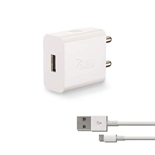 Syska WC-2A Single Port Charger (Cable Included) (White)