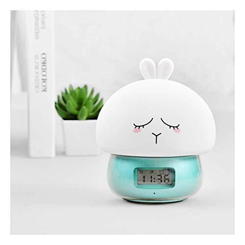 Despertador de luz inteligente despertador con función de control de voz Sunrise / Sunset Simulación 4 alarmas de despertador, radio FM 7 colores Función de noche Noche for la luz de grabación regalo