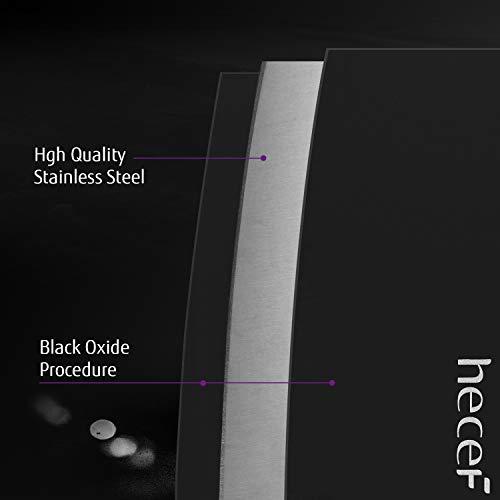 Hecef Set di Coltelli Black Oxide da 6 Pezzi, Antigraffio & Anticorrosivo, Acciaio Inox Potente, con Manico Ergonomico e Fodero per Coltelli, per Cucinare Pelare Tagliare Affettare