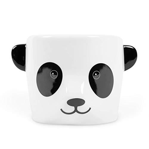 el & groove 3D Panda Tasse in weiß schwarz, Kaffeetasse 350 ml (460 ml randvoll), Tee-Tasse aus Porzellan, süß Tier Tasse,Panda Bär, Deko Becher, Kawaii Geschenk Frauen Mädchen, Geschenk Weihnacht