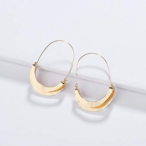 dingtian Pendientes populares para mujer, joyería única de moda, pendientes doblados, para niñas, color dorado