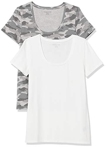 Amazon Essentials Paquete de 2 Camisetas de Manga Corta con Cuello Redondo. Fashion-t-Shirts, Gris Camo Print/Blanco, 38-40, Pack de 2