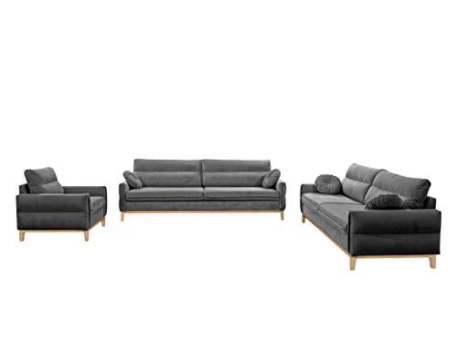 Mirjan24 Sofagarnitur Bellano III + II + I, Sofa Sessel Couch Polstersofa Couchgarnitur Wohnlandschaft mit Holzfüße Fernsehsessel Polstergarnitur...