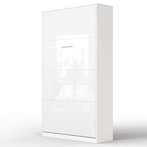 SMARTBett Letto a Scomparsa Basic Letto Ribaltabile Letto a Muro (90x200 Verticale, Bianco/Bianco Parte Frontale Lucido)
