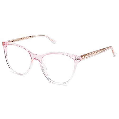 SOJOS Fashion TR90 Cateye Stylish Computer Eyeglasses Reader for Women,Trendy Blue Light Reading Glasses SR5706 with Pink Frame 1.50 x