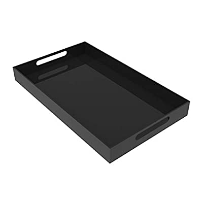 Large Black Acrylic Serving Tray with Deep Sides and Handles