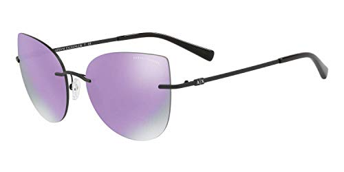 Armani Exchange AX2025S Sonnenbrillen Matt Schwarze Mit Grauem Violett Verspiegelten Gläsern 56mm 60634V AX2025 AX 2025 AX 2025S