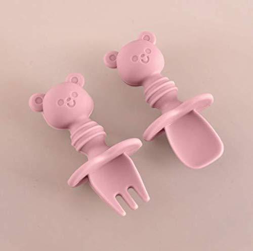 Losuya Baby Fork and Spoon Set Silicone Self Feeding Utensil Easy Grip Toddler Cutlery Kit (Pink)