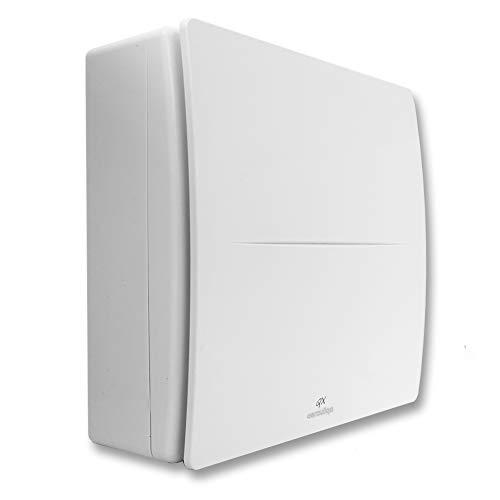 QX80HT de Aerauliqa – Aspirador centrífugo diámetro 80 mm – 28/17 W – 104/62 m3/h – código PQX00013 – 2 velocidades, con control de humedad y temporizador